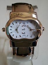 Silver finish metal band dual time 2 time zone  fashion bangle watch