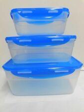 Lock & Lock Rectangle Food Storage Bowls- Clear W/Royal Blue Lids - Set of 3