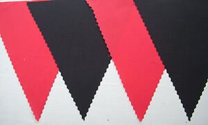 RED & BLACK FABRIC BUNTING BANNER FLAGS FOOTBALL WEDDING DECORATION 4Mt or more