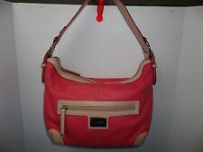 Tignanello Elegant Genuine Leather Hobo Handbag Purse Pink and Tan Color