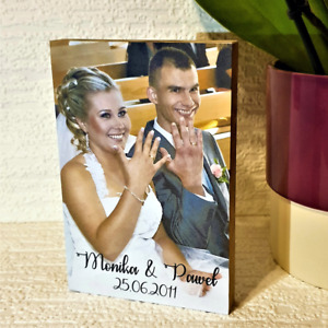 """Personalised Wooden Block Wedding Photo All Occasions 6x4"""" Gift Birthday"""