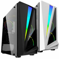 CIT Mars Gaming Mid ATX PC Case 4x Rainbow Ring Fans LED Strip Tempered Glass UK