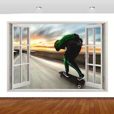 Extreme Sports Skateboarding Jump  3D Mural Decal Wall Sticker Poster Vinyl S299