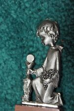 Pewter Peltro Boy In Robe Kneeling Wood Base Figurine Cesellato A Mano  Italy