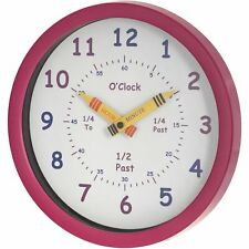 UNITY HENLEY LEARN THE TIME KIDS CHILDREN'S NURSERY WALL CLOCK IN PINK