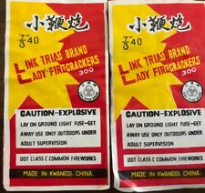 Pair Of Rare Vintage Link Lady Triad Brand Firecracker Paper Labels Fireworks
