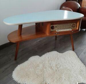 Table Basse Tripode Vintage Loewe Opta 763W, Meuble Radio Et Tourne Disques