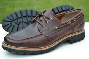 Clarks Mens Boat Shoes BATCOMBE SAIL Dark Tan Leather UK 8 / 42