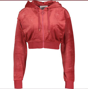 Juicy Couture Velour Logo Embossed Tracksuit Bottoms + Cropped Hoodie Red Large