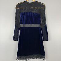 Topshop Womens Size 2 Navy Velvet Long Sleeve Black Lace Pencil Dress