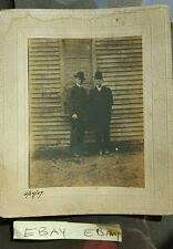 Cabinet Card Photo Men in Suits Posing Against Building Framed Sepia
