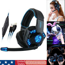 Professional Gaming Headset LED Light Earphone Headphone with Microphone 3.5mm