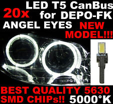 N° 20 LED T5 5000K CANBUS SMD 5630 lampe Angel Eyes DEPO Renault Clio 2 II 1D6 1