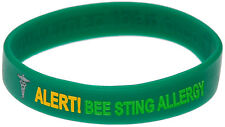 Bee Sting Allergy Green Silicone Wristband Medical Alert ID Bracelet Mediband
