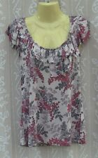Ladies Beige Floral Viscose Jersey Top, Oasis, Small, VGC