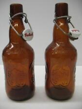 Lot (2) Vintage Grolsch Beer Bottles Amber Brown Glass Porcelain Flip Swing Top