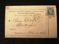 Frankreich 02.07.1869 -  Kaiser Napoléon 20 C  Brief von Paris nach Bertincourt