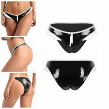 Women Shiny Metallic PVC Leather Panty Low Rise Bikini Briefs Bottoms Underwear