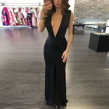 Hot Sexy! Women Deep V-neck Bodycon Club Maxi Dress Split Cocktail Evening Party