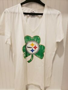 Pittsburgh Steelers Womens T-shirt V Neck XL St. Patrick's Day - Free Shipping