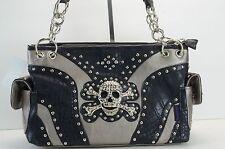 Brand New gray/black Skull purse,hand bag