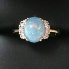 Sparkling Oval Blue Opal Ring Women Wedding Jewelry 14K Gold Plated Nickel Free
