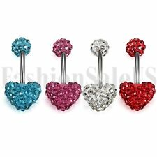 4pcs Heart Dangle Belly Button Ring Body Piercing Navel Surgical Steel Barbell