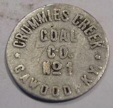 Cawood, Kentucky Token.  Crummies Creek Coal Co. #1.  25¢.  Harlan County, KY