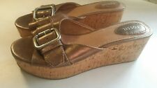 FOSSIL womens shoes Cork Platform Slide Sandals 9.5 wedges copper leather buckle