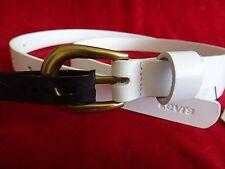 Levis White Leather Belt Womens Size L Large Full Grain