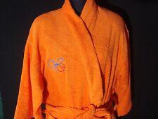 Cotton Towel Fabric Bathrobe Kimono Style-Orange Color