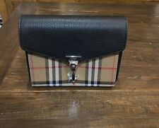 Burberry Vintage Check And Leather Crossbody Bag Black, New, Authentic