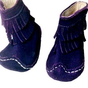 SEE KAI RUN SMALLER 6-9 MOS Purple Fringe Suede Moccasin Boots Hook & Loop