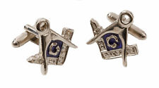 English Pewter & Blue Enamel Masonic Cufflinks NEW