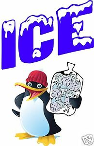 Ice Bag Cubed Penguin Trailer Storefront Concession Decal 13 x 9