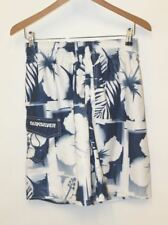 QUICKSILVER Men's Blue & White Printed Drawstring High Rise Board Shorts  S