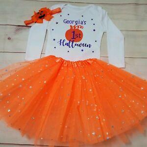 Personalised Baby Girls 1st Halloween Pumpkin Costume Tutu Outfit Gift Bodysuit