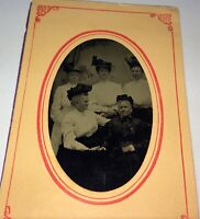 Rare Antique American Tintype of ID'd Family Members! Lovely Women's Fashion! US
