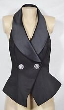 EN FRANCAIS NEW NWT Black Tuxedo Halter Rhinestone Buttons Peplum Evening Vest 4