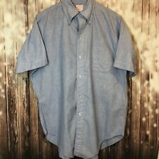 Brooks Brothers Short Sleeve Light Blue/Gray Cotton Size 16