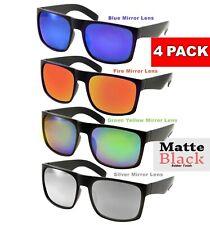 4 Pack XL Men's SUNGLASSES WIDE Big Head Rubber Color Mirror BLACK Extra Large