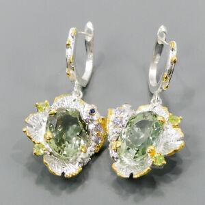 19x12mm Vintage SET Green Amethyst Earrings Silver 925 Sterling   /E57478