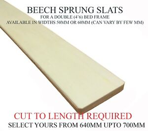CHEAPEST REPLACEMENT SPRUNG BED SLAT DOUBLE 4'6 BED CHOOSE LENGTH - W-50/60MM