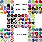 Boule piercing de rechange vendue seule unité 1,6 mm langue acrylique acier