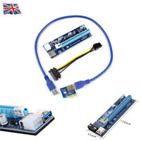 1x USB 3.0 SATA 4Pin PCI-E Express Power Cable to16x Extender Riser Card Adapter