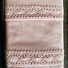 New Laura Ashley ANNABELLA Pink Lace Trim Shabby Chic QUEEN Duvet Cover Set