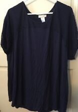 NEW Women's Plus 20/22W 18W Blue Blouse Cotton 2X/1X Career Comfort Trendy Cute*