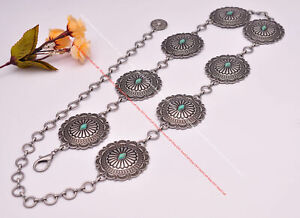 Women Inspired Southwest Wide Flower Carved Antique Silver&Turquoise Concho Belt