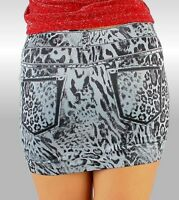 SeXy MiSS Damen Stretch Mini Rock Leo Print Style XS-S Freesize grau schwarz NEU