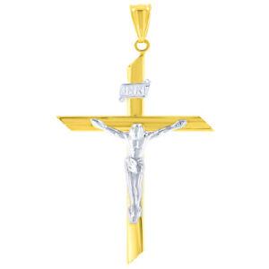 14K Two-Tone Gold Large INRI Crucifix Charm Cross with Jesus Christ Pendant